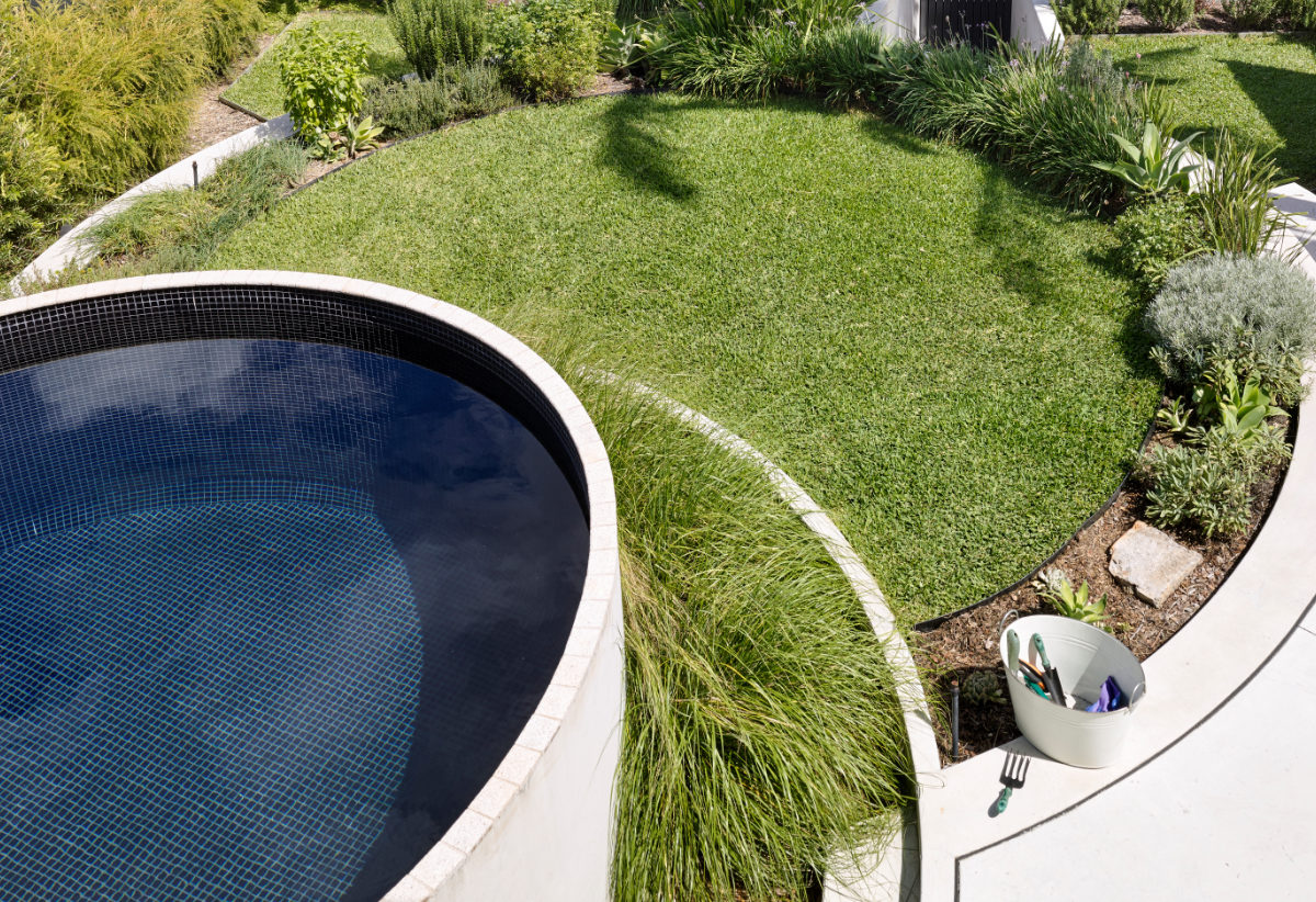 Concrete plunge pool above ground pool