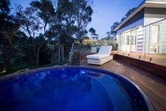 Circular plunge pool above ground pool